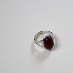 Brown Agate Stone Ring with Sterling Silver Band
